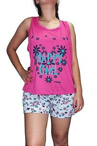 """Short Doll Estampado Nadador - Rosa Pink com Flores """"Happy Girl"""""""