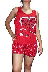 Short Doll Estampado Nadador - Vermelho com Coração e Laço