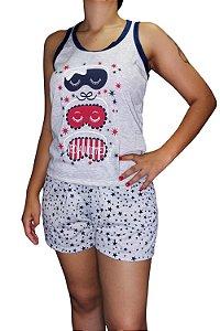 Short Doll Estampado Nadador - Cinza com Tapa Olhos