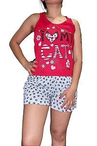 "Short Doll Estampado Nadador - Vermelho ""I Love My Cat"""