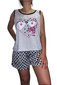 Short Doll Estampado Nadador - Cinza com Casal de Cachorrinhos