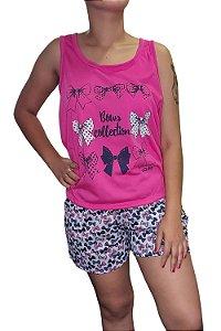 Short Doll Estampado Nadador - Rosa Pink com Laços