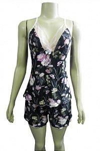Short Doll em Liganete e Detalhe em Renda - Preto com Flores Rosas