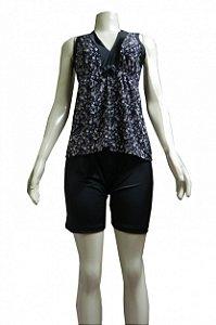 Short Doll Regata Nadador Estampado - Preto com Flores