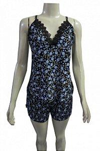 Short Doll Estampado com Detalhe em Renda - Preto com Flores Azuis