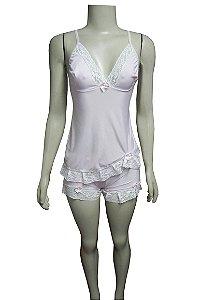 Short Doll Estampado com Detalhe em Renda - Rosa Claro