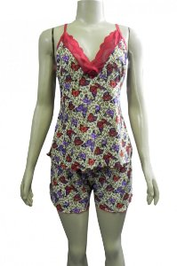 Short Doll Estampado em Liganete e Detalhe em Renda - Vermelho com Borboletas