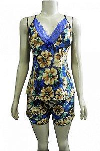 Short Doll Estampado em Liganete e Detalhe em Renda - Azul com Flores Marrons