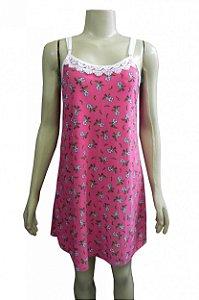 Camisola Estampada em Liganete - Rosa com Flores