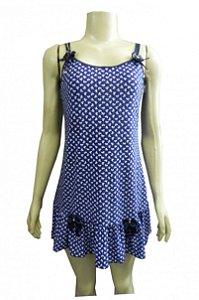Camisola Estampada em Liganete - Azul Bic com Laços