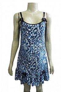 Camisola Estampada em Liganete - Azul com Oncinha