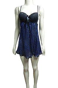 Camisola Curta Estampada com Bojo - Preto com Oncinha Azul