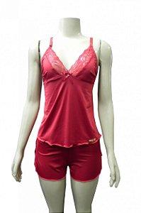 Short Doll com Detalhes em Renda na Blusa e no Short - Vermelho