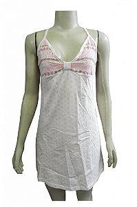 Camisola de Algodão Curta Estampada - Rosa Claro