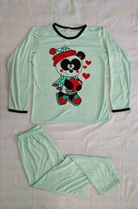 Pijama Feminino Longo Estampado - Verde Claro com Ursinho Panda