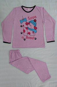 Pijama Feminino Longo Estampado - Lilás com Cachorrinho