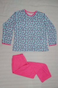 Pijama Plus Size Feminino Longo Estampado - Azul com Corações Alfinetados