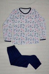Pijama Feminino Longo Estampado - Azul Claro com Luvas