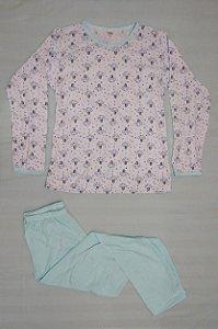 Pijama Feminino Longo Estampado - Branco com Nuvens