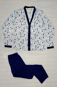 Pijama Feminino Estampado Longo de Botão - Azul Claro com Pintinhos