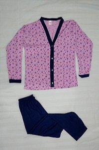 Pijama Feminino Estampado Longo de Botão - Lilás com Flores