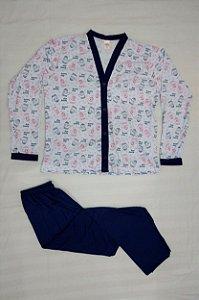 Pijama Feminino Estampado Longo de Botão - Azul Claro com Luvas