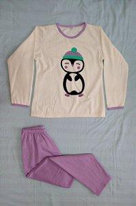 Pijama Feminino Longo Estampado - Nude e Lilás com Pinguim