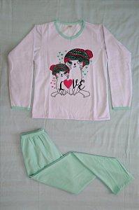 Pijama Feminino Longo Estampado - Branco e Verde Claro com Gatinhos