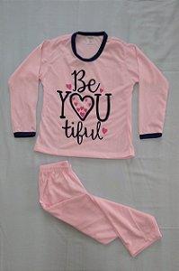 "Pijama Infantil Feminino Longo Estampado - Rosa Claro ""Be You Tiful"""