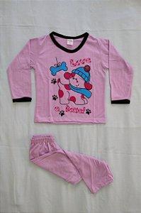 Pijama Infantil Feminino Longo Estampado - Lilás com Cachorrinho