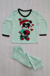 Pijama Infantil Feminino Longo Estampado - Verde Claro com Ursinho Panda
