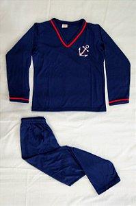 Pijama Infantil Masculino Longo e Gola V - Azul Marinho com Detalhes em Vermelho e Âncora Bordada