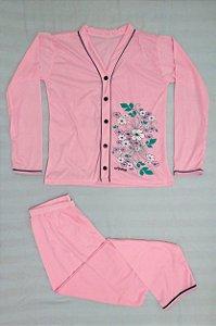 Pijama Feminino Longo Estampado de Botão - Rosa Claro com Flores Brancas