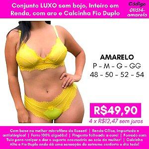 Conjunto Luxo, Sem Bojo, Inteiro em Renda, Com Aro e Calcinha Fio Duplo - Amarelo