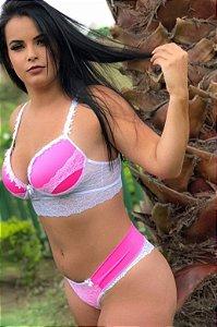 Conjunto Alça Guipir - Branco com Pink