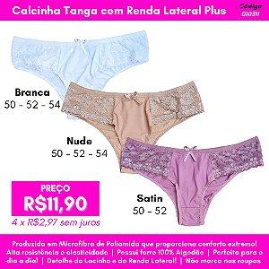 Calcinha Tanga com Renda Lateral Plus Size - Cores Variadas