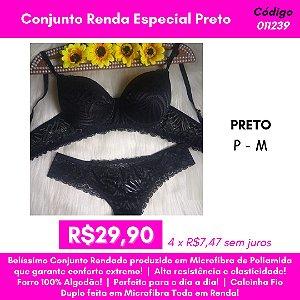 Conjunto Renda Especial - Preto