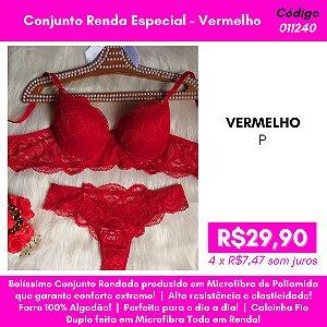 Conjunto Renda Especial - Vermelho