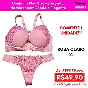 Conjunto Plus Size Reforçado  Nadador com Renda e Pingente - Rosa Claro