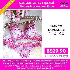 Conjunto Renda Especial - Bicolor Branco com Rosa