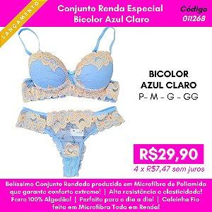 Conjunto Renda Especial - Bicolor Azul Claro
