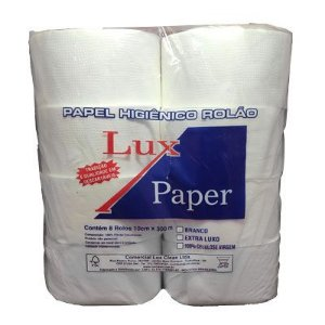 Papel Higiênico Folha Simples 300M 8x300 Branco lux paper