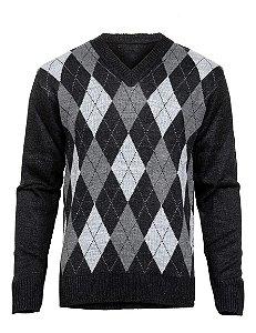 Blusa Suéter Tricot Masculino Escocês