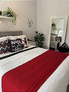 Peseira Manta de Tricot Espanha Decorativa Luxo Tricô Cama Queen 230x60cm