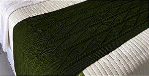 Peseira De Tricot Decorativa Inglaterra Tricô Decorativo para Cama Queen 230X60 cm