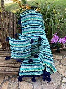 Manta De Tricô Decorativa Cama E Sofá + 2 Capas Almofadas