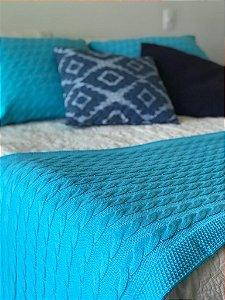 Kit Peseira de Tricot Para Sofá Cama Casal Padrão 180x60 cm com 2 Capas em Tricô