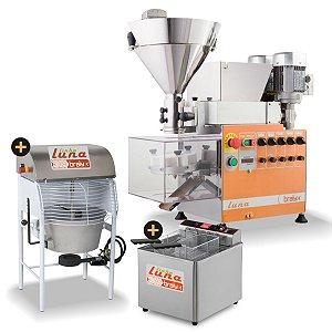 Linha completa Máquina de fazer salgados e doces Luna Duplo Recheio + Misturela + Fritadeira GFAO 18M 220v