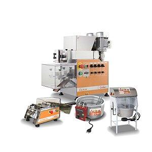 Linha completa Máquina de fazer salgados e doces Luna + Masseira + Empanamix Mini + fritadeira 220v