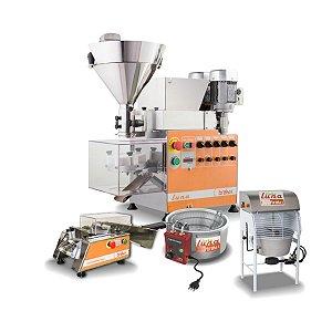 Linha completa Máquina de fazer salgados e doces Luna Duplo Recheio + Masseira + Empanamix Mini + Fritadeira 220v